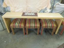 Modern Console Table & 4 Ottomans