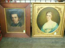 2 Portraits Victorian Man & Woman