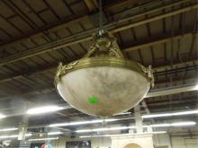 Chandelier, Alabaster Dome in Brass Frame