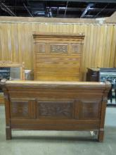 Late 19th / Early 20th C. Oak Bed