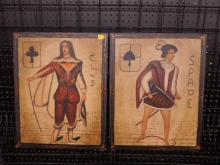 2 Hand Painted Playing Cards on Wood Boards
