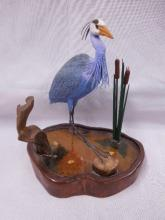 Signed Contemporary Shorebird Wood Carving