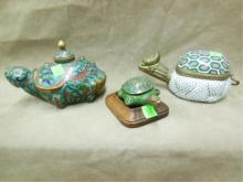 (3) Chinese Cloisonné Turtle Containers
