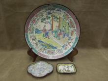 Three Chinese Enameled Brass Plate/Trays