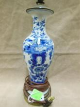 Chinese Blue & White Porcelain Lamp Vase