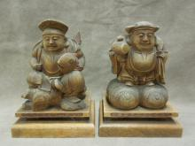Japanese Carved Sandalwood Figures