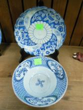 Oriental Blue & White Porcelain Bowl & Plate