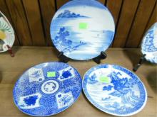 3 Chinese Blue & White Porcelain Plates