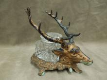 Stag Head Form Glass Inkwell, Cast Iron Base