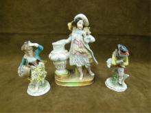 (3) Porcelain and Bisque Figures