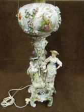 19th C. Meissen Porcelain Figural Oil Lamp