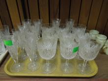 19 Pieces Early 20th C. Cut Glass Stemware