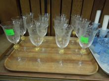 12 Etched Crystal Wine glasses