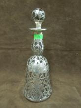 Sterling Silver Overlay Decanter Clear Crystal