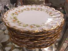 Set of 6 Limoges Porcelain Dessert Plates