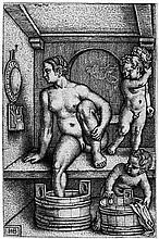 Beham, Hans Sebald: Frau mit zwei Kindern in der Badestube