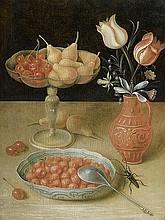 Flegel, Georg - Umkreis: Stilleben mit Erdbeeren, Birnen und Vase mit Tulpen