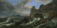 Mulier d. Ä., Pieter: zugeschrieben. Stürmische See mit Segelschiffen vor Felsenküste