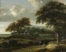 Ruysdael, Jacob Salomonsz. van - zugeschr.: Baumbestandene Landschaft mit rastenden Wanderern