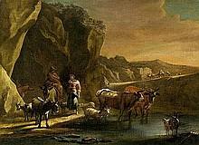Berchem, Nicolaes - Umkreis: Pastorale Landschaft mit Reiter und einer Hirten im Gespräch