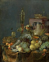 Niederländisch: 17. Jh. Früchtestilleben mit Flötenglas und Amazone