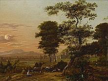 Sonje, Jan Gabrielsz.: Weite südliche Landschaft mit einer rastenden Hirtin bei ihrer Herde