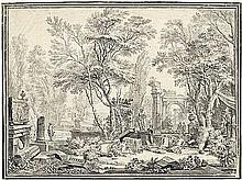 Italienisch: um 1680. Italienische Ideallandschaft