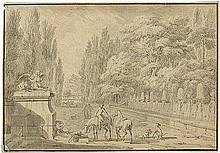 Maas, Dirck - zugeschr.: Parklandschaft mit Reitern und Hunden an einem Brunnen