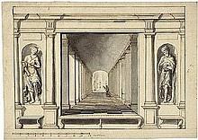 Niederländisch: um 1700. Entwurf für eine Wanddekoration mit Perspektivmalerei
