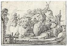 Niederländisch: 17. Jh. Pittoreske Landschaft mit einer Mühle