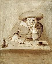 Niederländisch: um 1640. Ein Mann mit Hut an einem Schreibtisch bei Kerzenlicht.