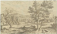 Niederländisch: 17. Jh. Hügelige Landschaft mit Brunnen