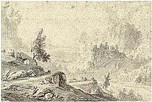 Niederländisch: 17. Jh. Gebirgslandschaft mit Ruine auf einem Felsen