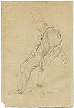 Hansen, Constantin: Studie einer sitzenden männlichen Figur