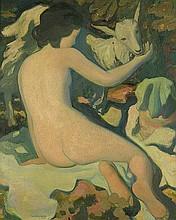 Brédier, René-Ernest-Ferdinand: Akt mit Ziege (Nude with goat)