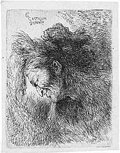 Castiglione, Giovanni Benedetto: Kopf eines Mannes mit Pelzmütze