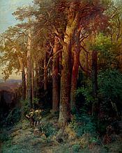 Oehme, Ernst Erwin: Waldlandschaft im Abendlicht
