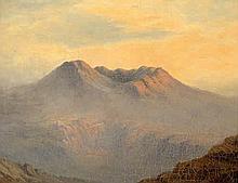 Knoll, Waldemar - nach: Blick auf eine kaukasische Vulkanlandschaft mit Ruinen im Sonnenuntergang