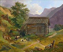Österreichisch: 1843. Sommerlandschaft mit Mühle am Bach in der Steiermark bei Graz