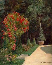 Schwarz, Alfred: Garten mit blühendem Rosenstock