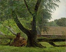 Dänisch: 19. Jh. Landschaft mit entwurzelter Buche, im Hintergrund ein Gehöft