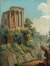 Italienisch: um 1840. Zwei Wanderer unterhalb des Vestatempels in Tivoli