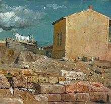 Hansen, Joseph Theodor: Hinterhof in Athen