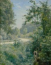 Boesen, Johannes: Sommerliche Landschaft entlang eines Weges bei Lellinge auf Seeland