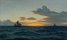 Olsen, Christian Benjamin: Segelschiffe auf dem Meer bei Sonnenaufgang