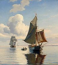 Neumann, Johan Carl: Segelschiffe bei ruhiger See an einem Sommertag
