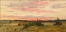 Moras, Walter: Sonnenaufgang in mecklenburgischer Landschaft.