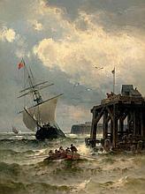 Weber, Theodor Alexander: Schiffe und Boote in stürmischer See bei einem Anleger