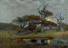 Vockeradt, Caspar Hermann: Eichen im Moor bei Mondlicht