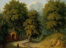 Deutsch: 19. Jh. Campagnalandschaft mit kleinem Brunnen und Wanderern